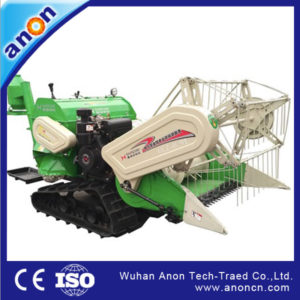 ANON 4LZ-0.9LB rubber track riding type mini rice paddy wheat combine harvester